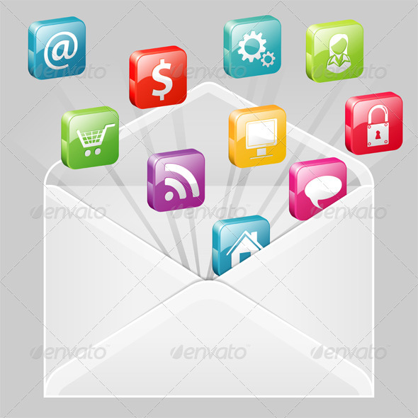 Envelope with Set of Icons - Communications Technology