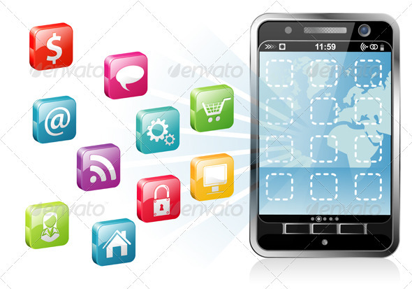 Smartphone with a blank place for icon - Communications Technology