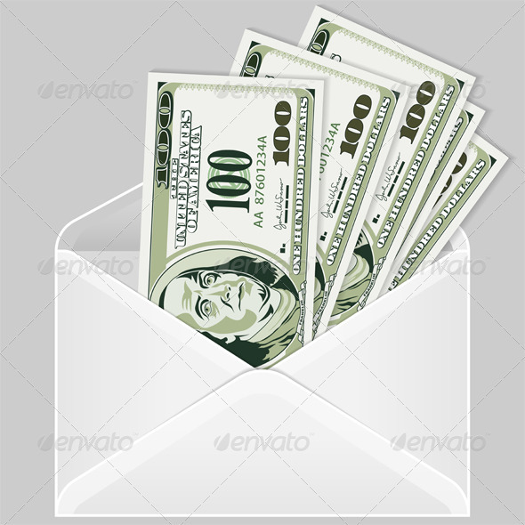 Open the Envelope with Dollar Bills - Concepts Business