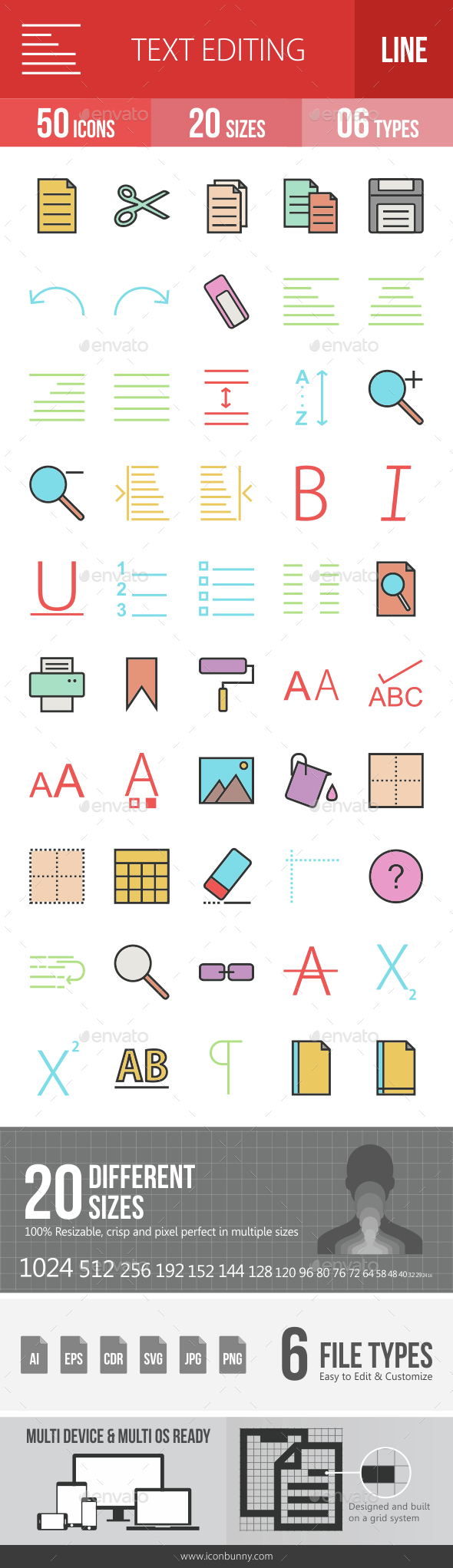 Text Editing Filled Line Icons - Icons