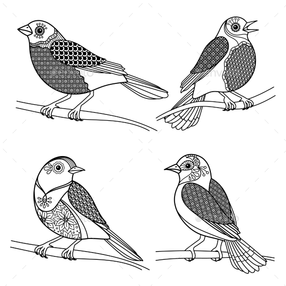 Hand Drawn Zentangle Birds - Animals Characters