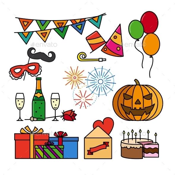 Birthday Celebration Thin Line Icons - Birthdays Seasons/Holidays