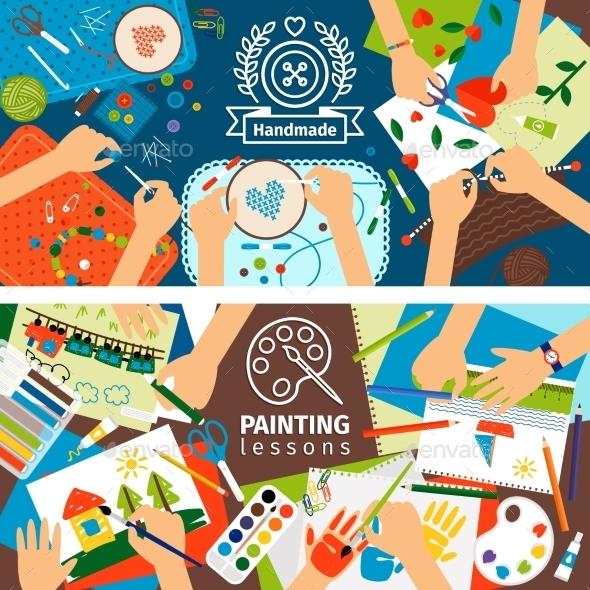 Handmade Creative Kids Banners - Conceptual Vectors