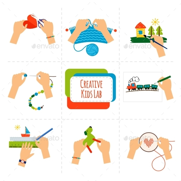 Creative Kids Hands - Conceptual Vectors