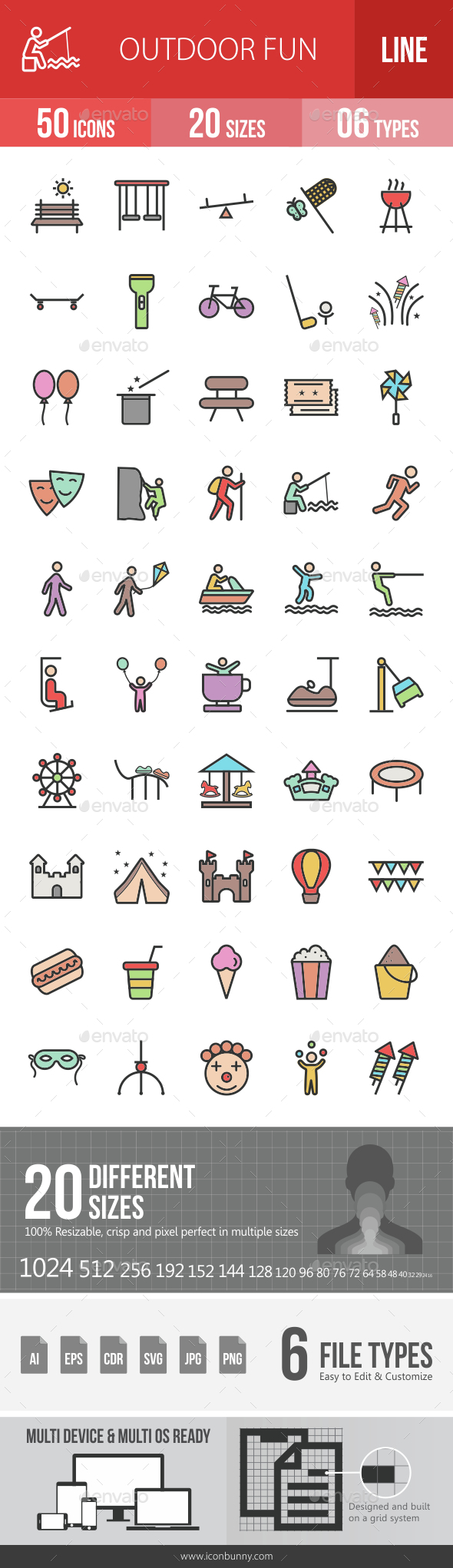 Outdoor Fun Filled Line Icons - Icons