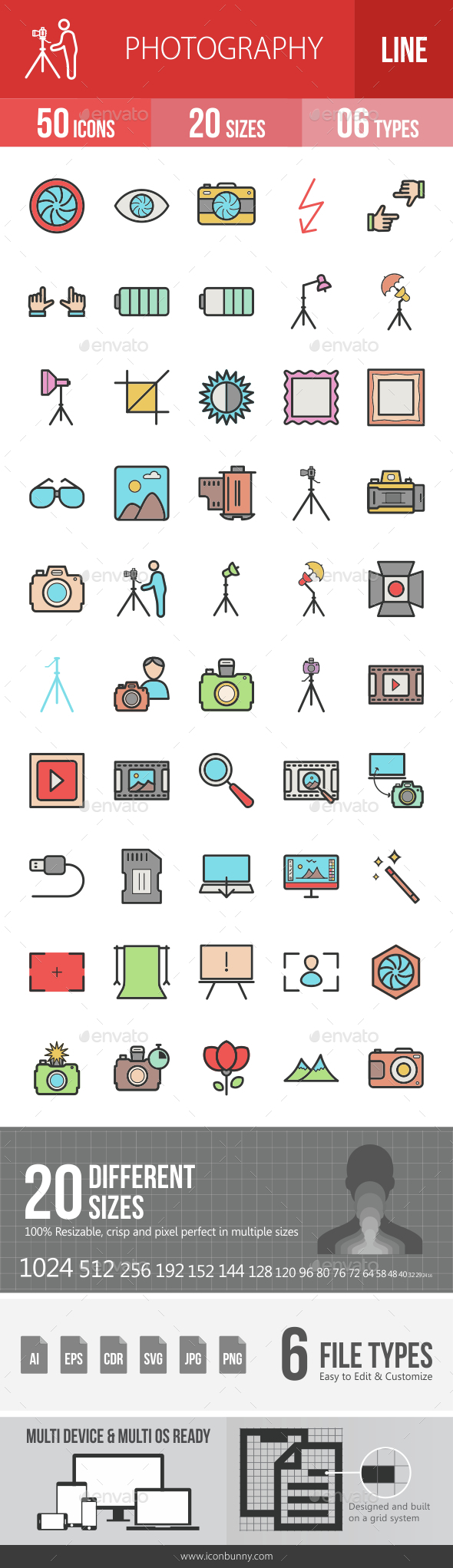 Photography Filled Line Icons - Icons