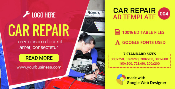 GWD | Car Repair & Service HTML5 Banners - 07 Sizes - CodeCanyon Item for Sale