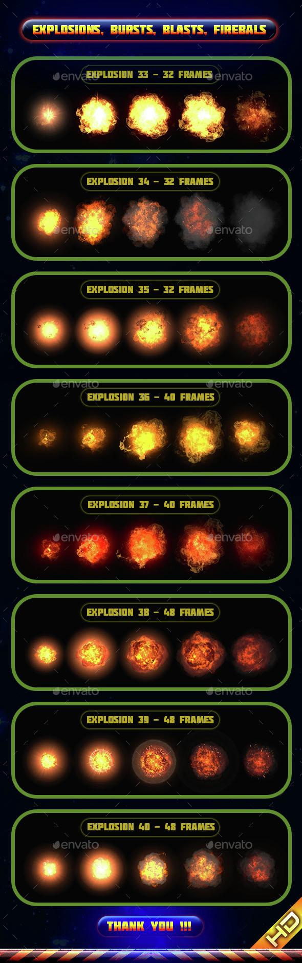 Explosions Blasts Bursts Detonations Fireballs 05 - Sprites Game Assets