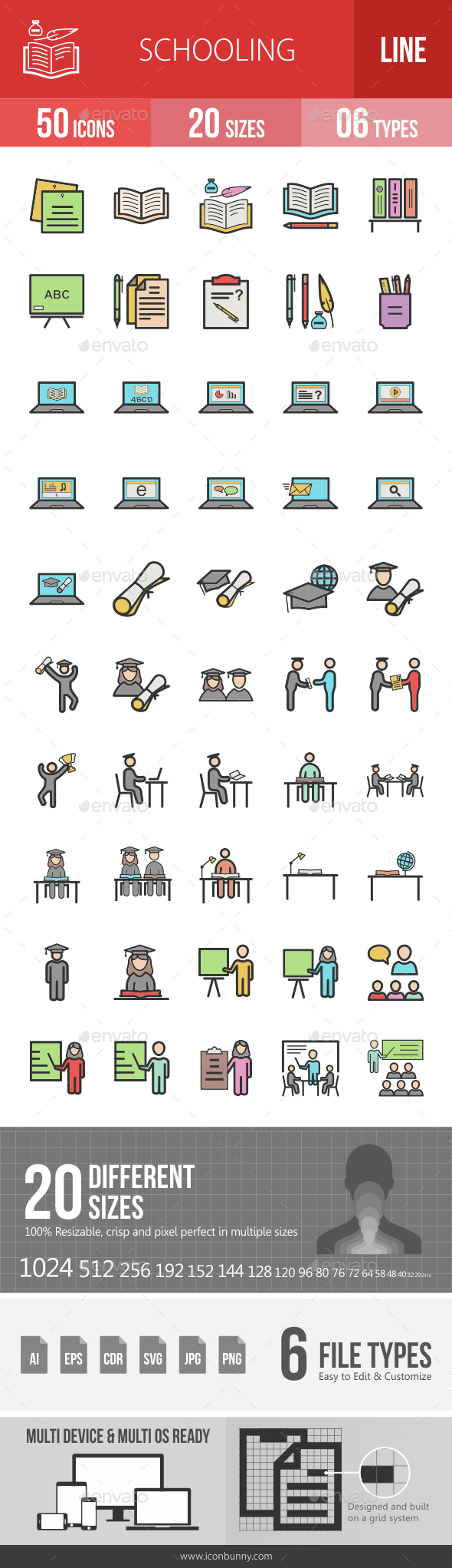 Schooling Filled Line Icons - Icons