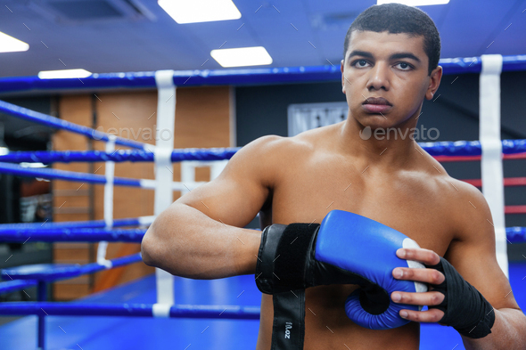 Boxer getting ready for fight - Stock Photo - Images