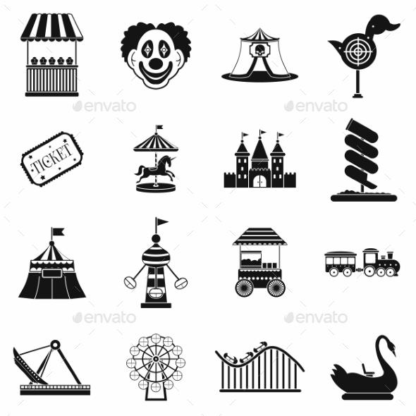 Amusement Park Black Simple Icons Set - Miscellaneous Icons