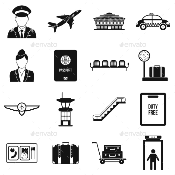Airport Black Simple Icons - Miscellaneous Icons