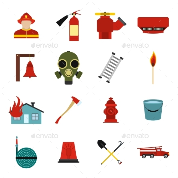 Firefighter Flat Icons Set - Miscellaneous Icons