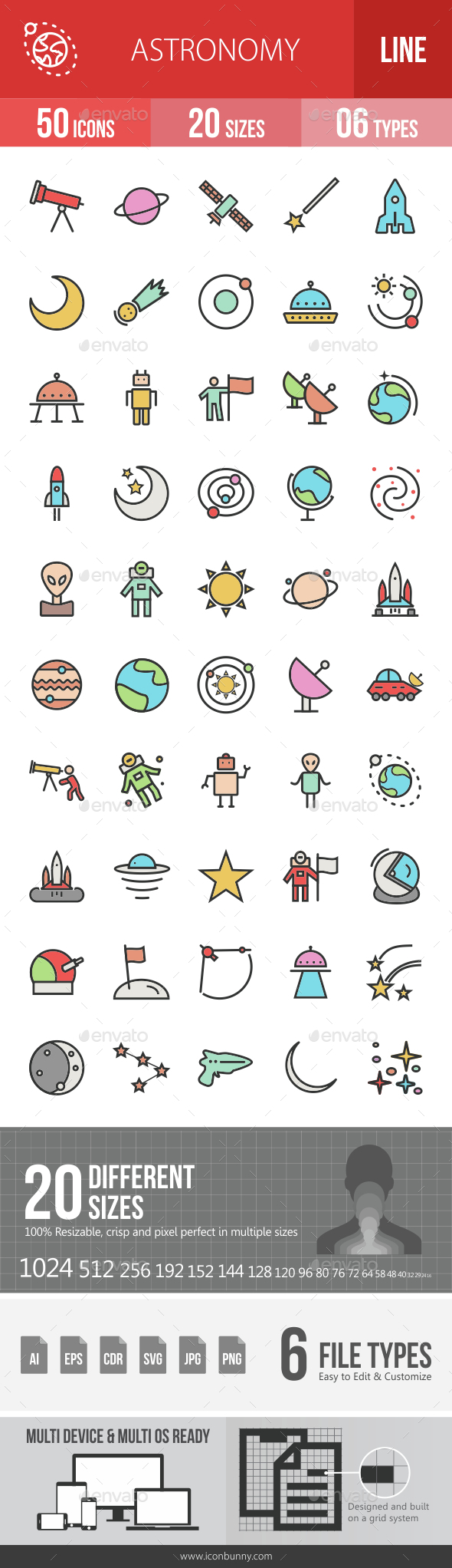 Astronomy Filled Line Icons - Icons