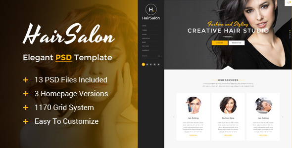 Hair Salon – Elegant PSD Template