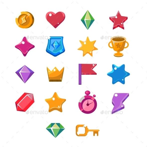 Computer Game Icon Set - Web Elements Vectors