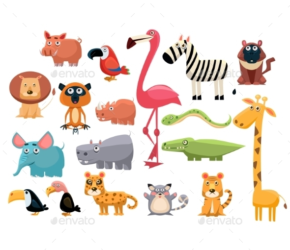 African Animals. Vector Illustration Set - Animals Characters