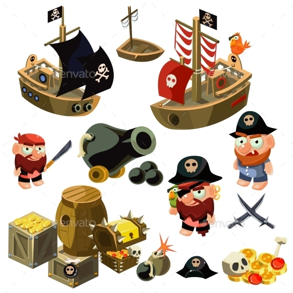 Pirate Set. Vector Illustration. - People Characters