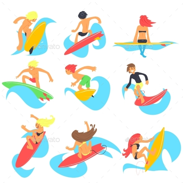 Surfing People. Vector Illustration Set - Travel Conceptual