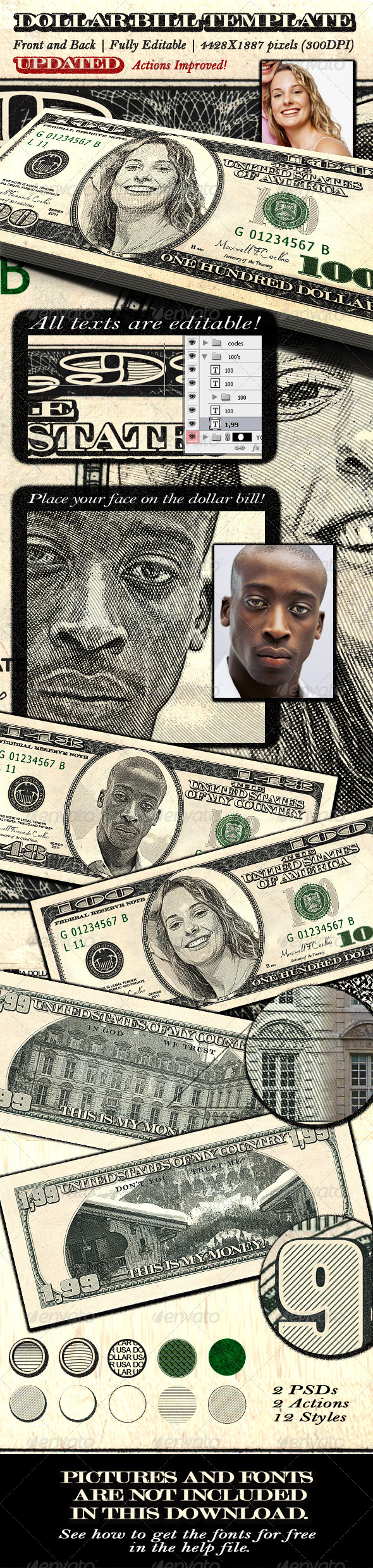 Dollar Bill Template - Front and Back by MaxwellCoelho | GraphicRiver
