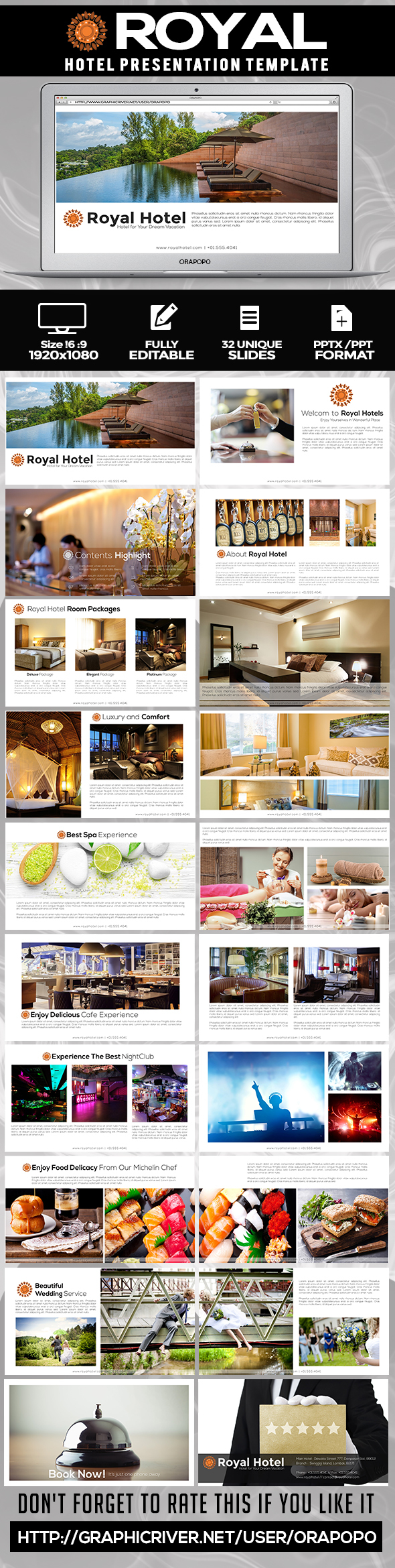 Royal Hotel Presentation Template By Orapopo GraphicRiver - Best of hotel presentation template ideas