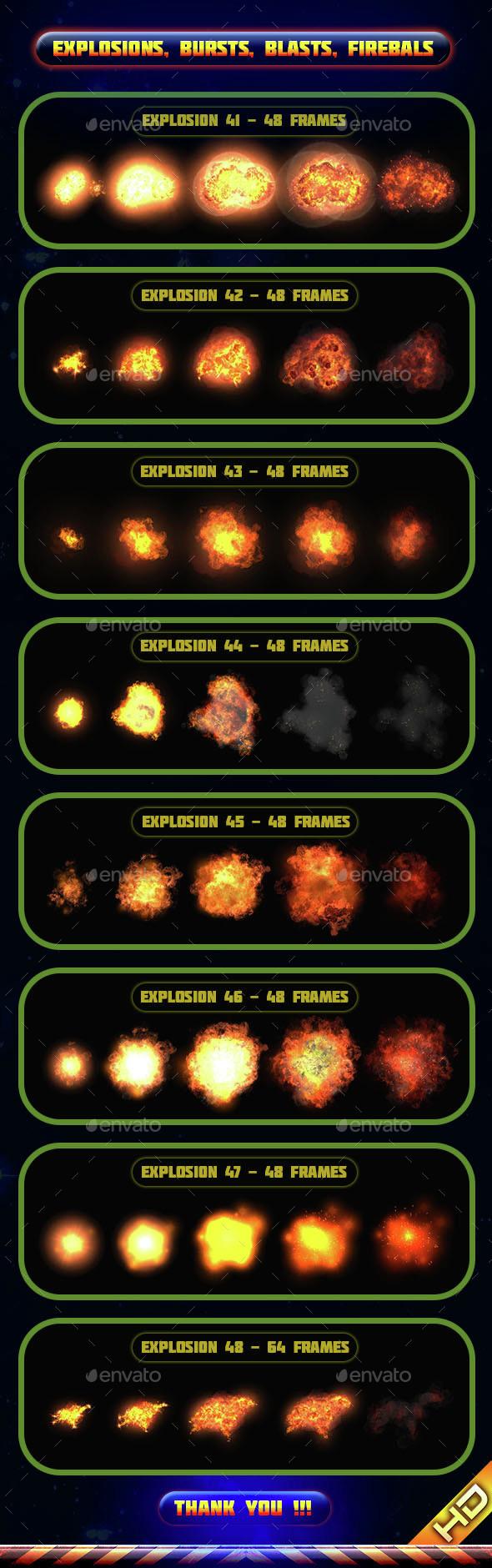 Explosions Blasts Bursts Detonations Fireballs 06 - Sprites Game Assets