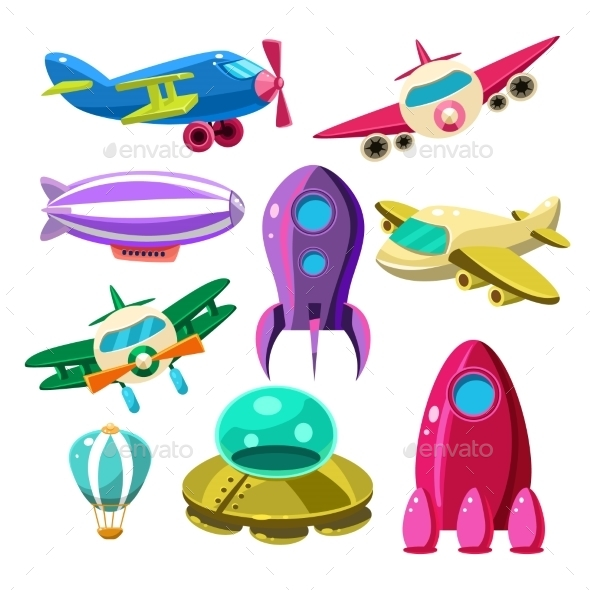 Aviation, Airplanes, Space Shuttles, Hot Air - Web Elements Vectors
