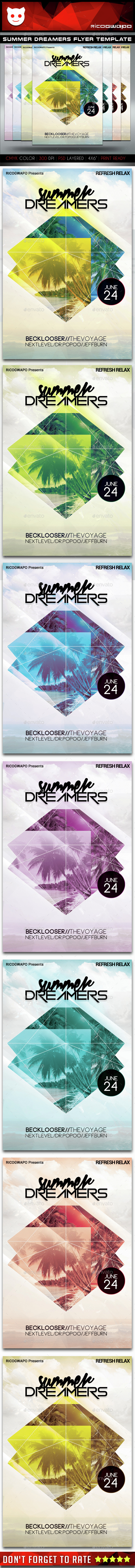 Summer Dreamers Flyer Template - Flyers Print Templates