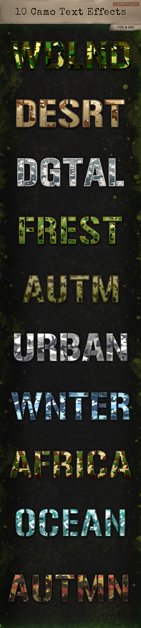10 Camo Text Effects - Text Effects Styles