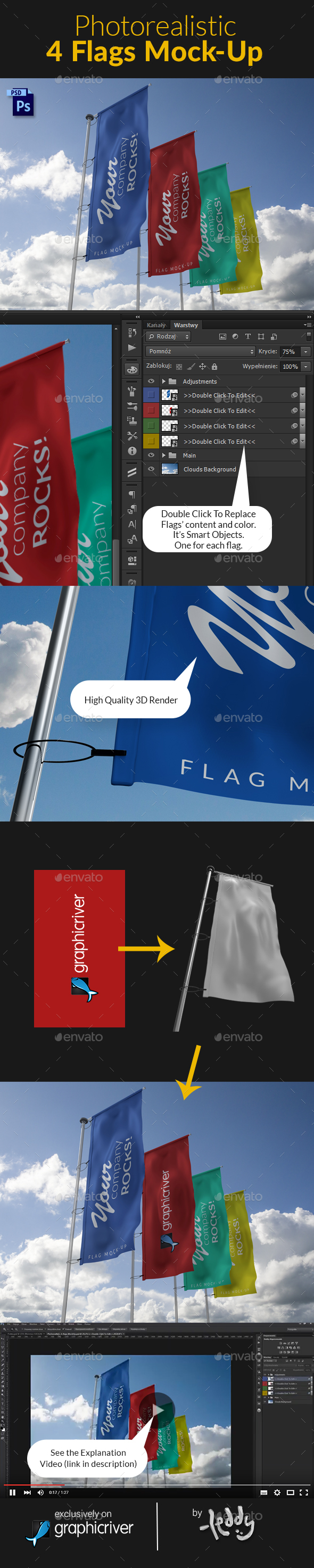 4 Flags MockUp - Product Mock-Ups Graphics