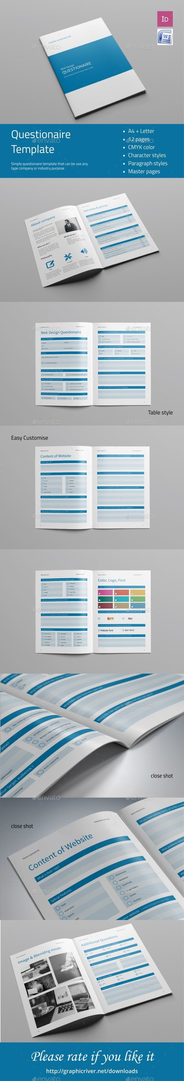 Questionare Template - Miscellaneous Print Templates