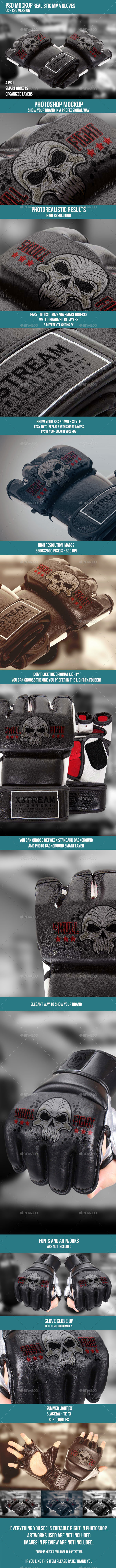 Mma Gloves PSD Mockup - Product Mock-Ups Graphics