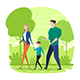 Happy Family Walking in the Park - GraphicRiver Item for Sale