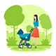 Mother Walking with baby in the Park - GraphicRiver Item for Sale