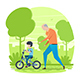 Happy Grandfather with Grandson in the Park - GraphicRiver Item for Sale