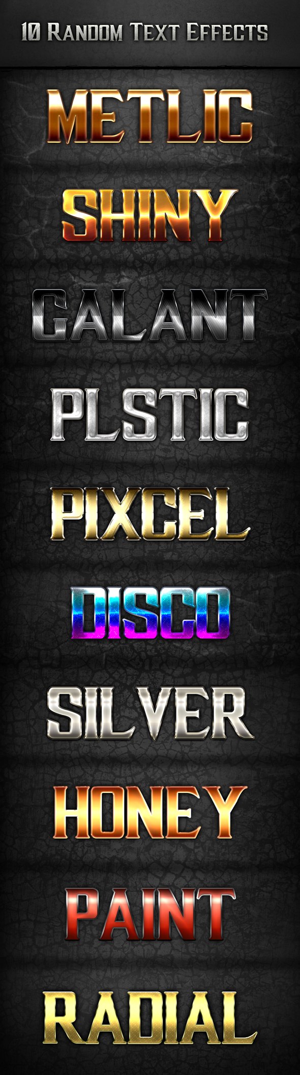 10 Random Text Effects - Text Effects Styles