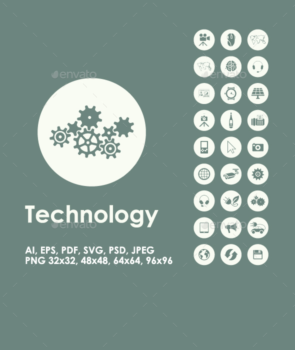Technology simple icons - Technology Icons