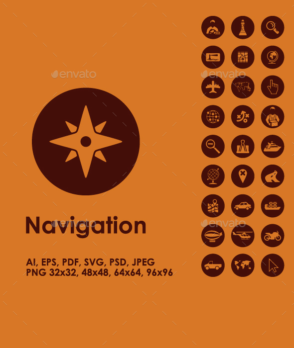 Navigation simple icons - Technology Icons