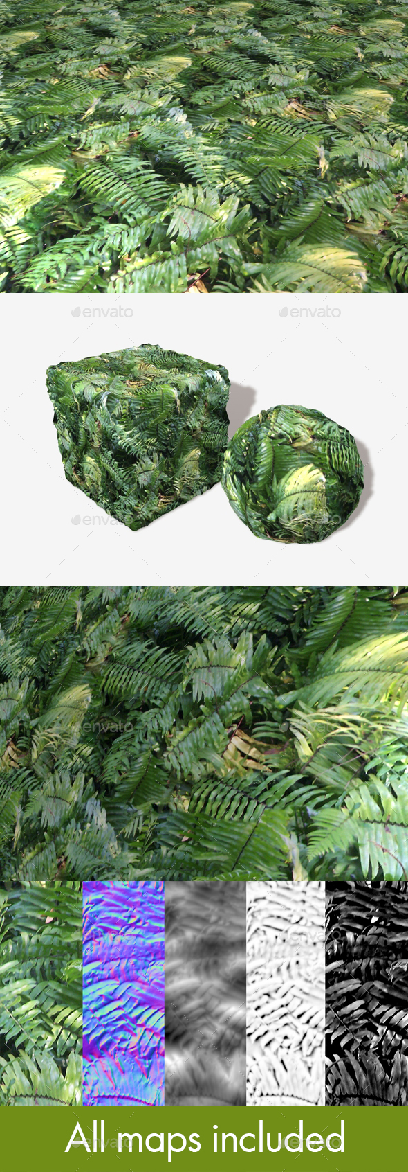 Jungle Background Fern Seamless Texture - 3DOcean Item for Sale