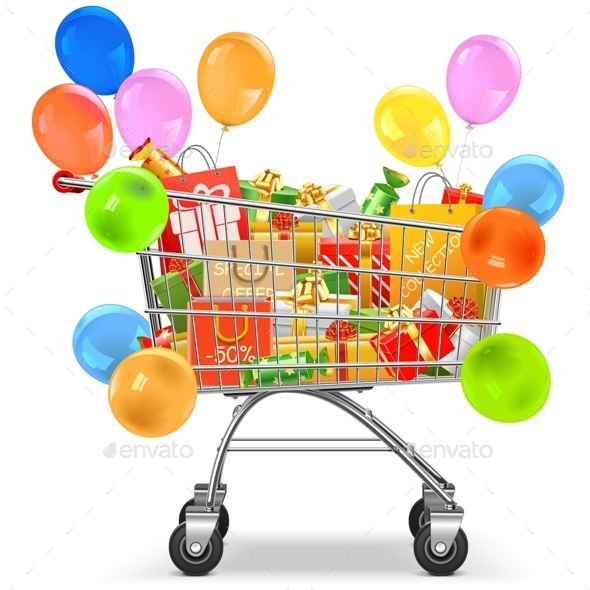 Supermarket Trolley with Gifts - Retail Commercial / Shopping