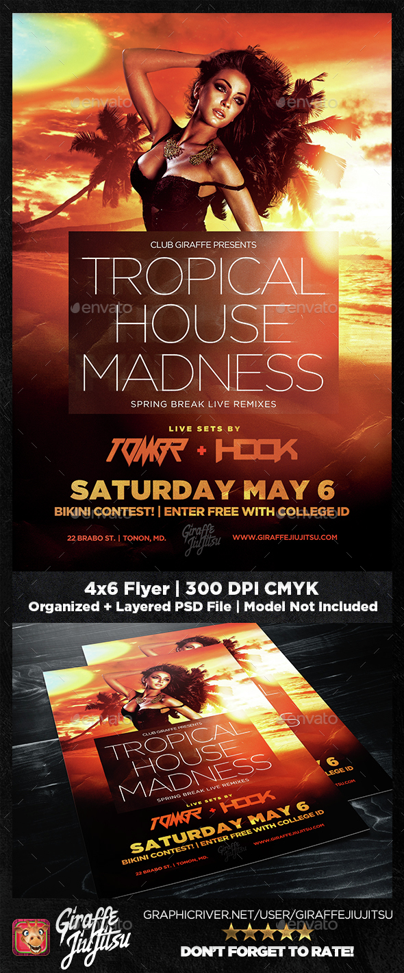 Tropical House Madness Flyer Template - Clubs & Parties Events