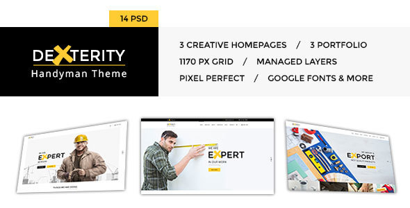 Dexterity – PSD Template for businesses related to Handyman, Construction, Architect and Plumbers