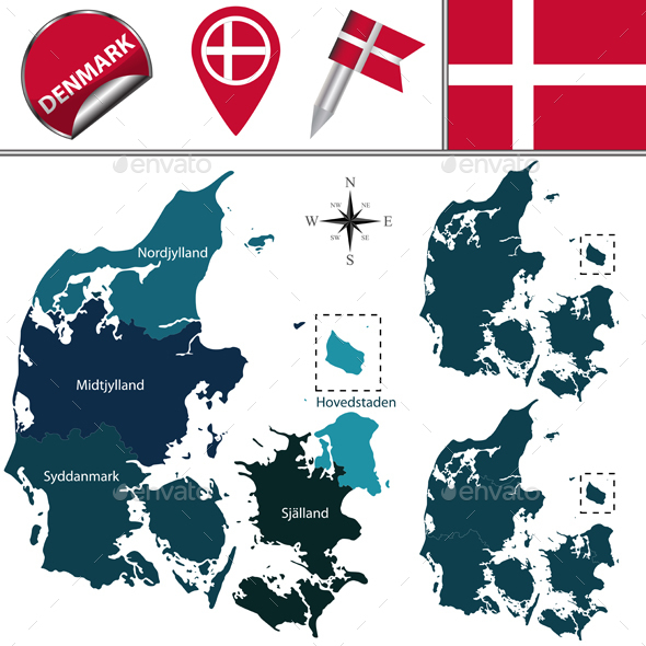 Map of Denmark with Named Regions - Travel Conceptual