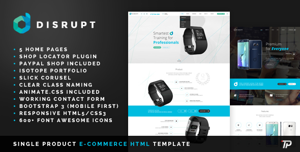 Disrupt – Single Product e-Commerce HTML Template