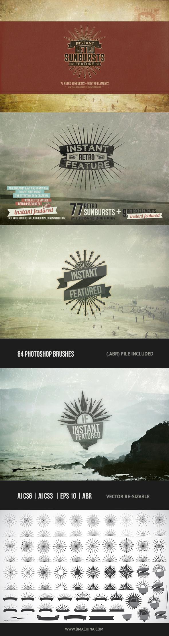 Instant Featured - 77 Retro Sunbursts - Brushes Photoshop