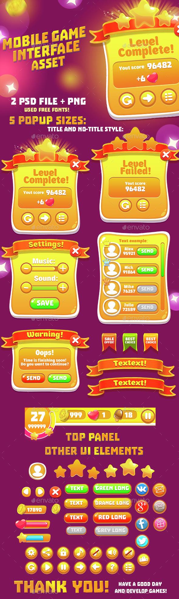 Orange Casual GUI Set - User Interfaces Game Assets