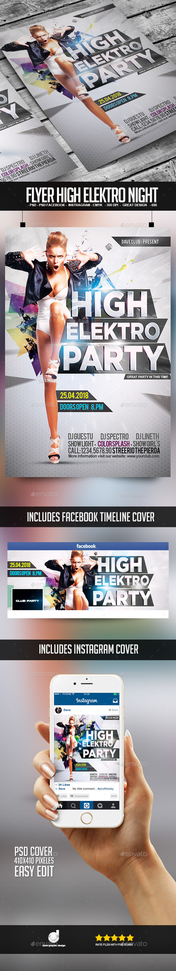Flyer High Elektro Party - Clubs & Parties Events