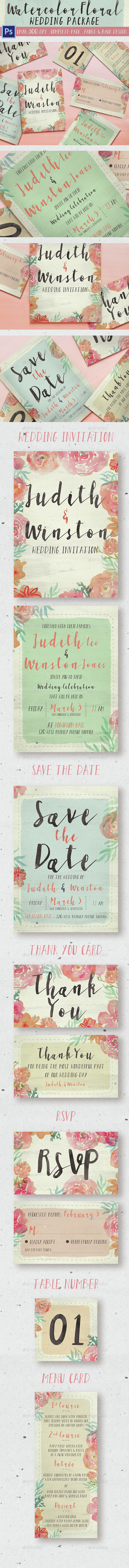 Watercolor Floral Wedding Package