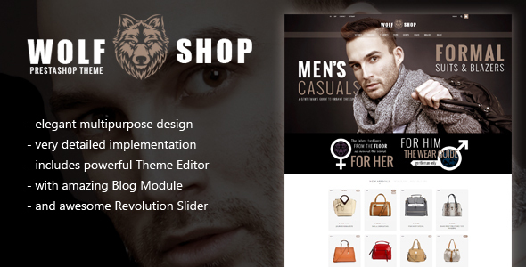 WOLF Multipurpose Responsive Prestashop Theme with Blog and Theme Editor