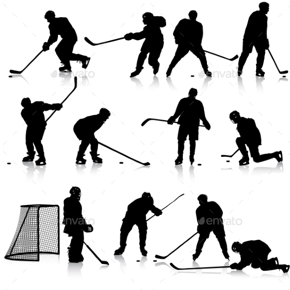 Set of Silhouettes of Hockey Players - Sports/Activity Conceptual